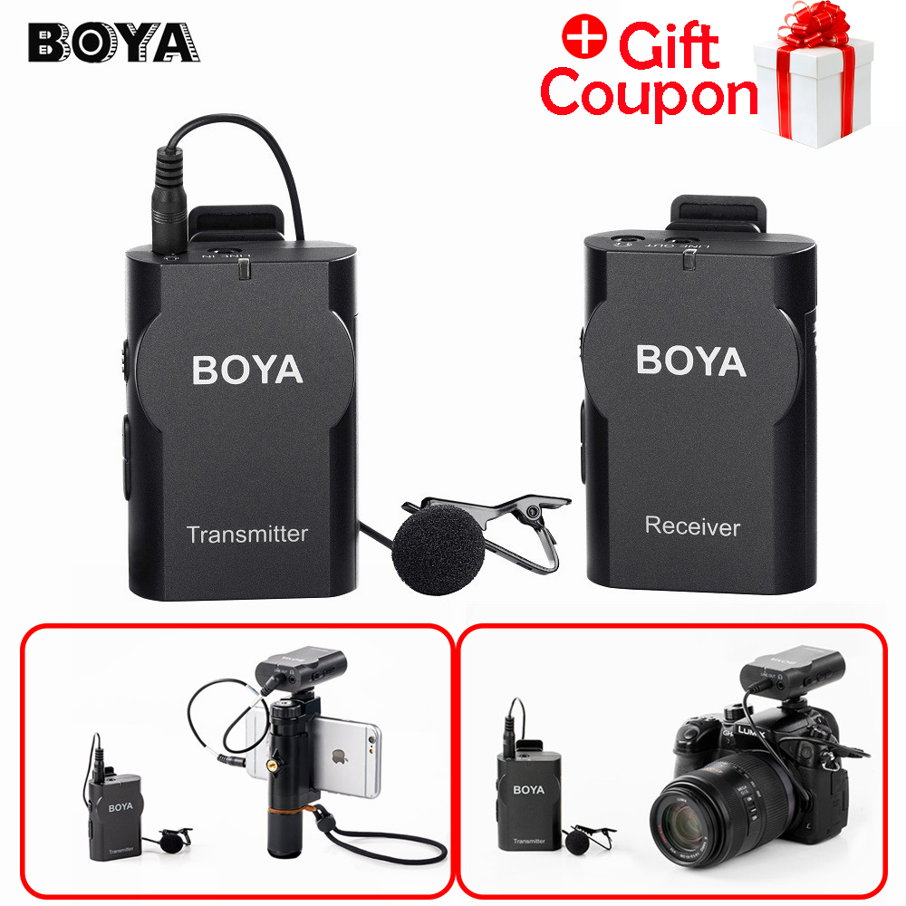 Boya BY-WM4 Professional Wireless Microphone System Lavalier Lapel Mic for Canon Nikon Sony DSLR Camcorder Recorder for iPhone 6  boya by wm5 lavalier clip on mic audio studio recorder wireless microphone microfone for canon sony gopro dslr camera camcorder