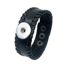Hot Sale 162 Original Hand Woven Genuine Leather Retro Fashion Bracelet 12mm 18mm Snap Button Charm Jewelry For Women Gift