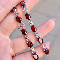 Color jewelry 925 silver inlaid Natural Garnet Bracelet Jewelry free shipping