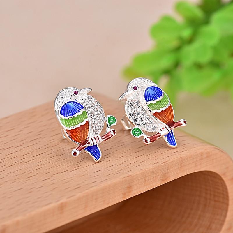 2019 Hot Sales 925 Silver Stud Earrings Beautiful Vivid Owl and Color Enamel Earring for Women Animal Jewelry in Stud Earrings from Jewelry Accessories