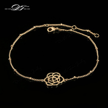 Elegant Rose Flower Feet Chain Anklet Rose Gold Color Fashion Brand Jewelry For Women Wholesale DFA029