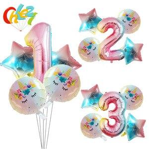 Image 1 - 5Pcs 1 2 3หมายเลขตกแต่งGlobosเด็กผู้หญิงของขวัญเด็กการ์ตูนยูนิคอร์นรูปบอลลูนฮีเลียมเด็กแสดงของเล่นเด็ก