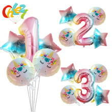 5pcs 1 2 3 Number Birthday party Decorations Globos Baby Girl Boy Gifts Unicorn cartoon figure helium balloons Baby show kid toy