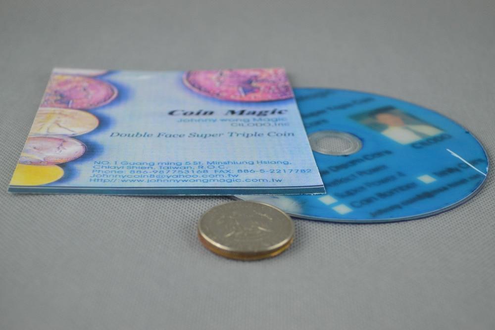Double Face de Super Triple Coin (DVD + Gimmick) Tours de Magie Magicien Close Up Accessoires Mentalisme Illusion Comédie