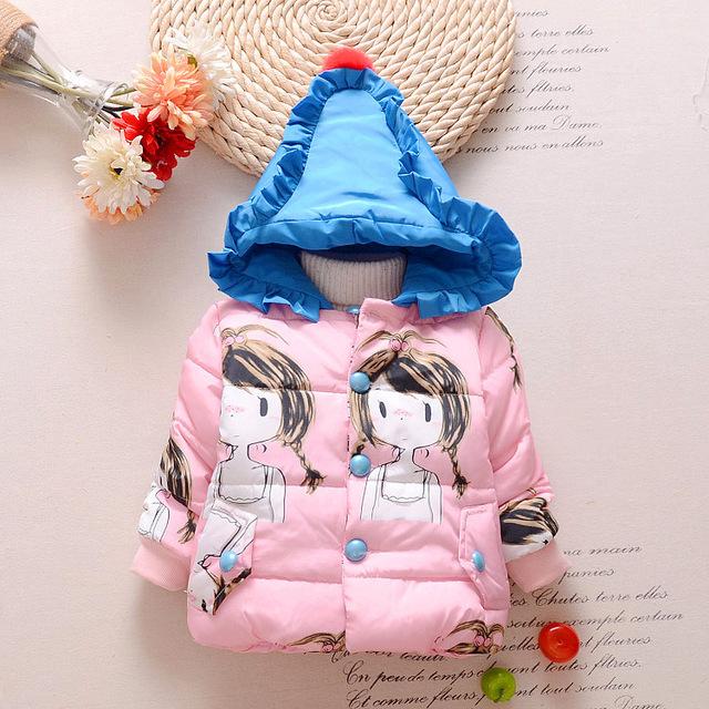 10-24months impressão Inverno quente Snowsuit Bebê Recém-nascido Do Bebê Casacos Meninas Crianças bow Casacos Parka Casacos Quentes Das Crianças Ao Ar Livre