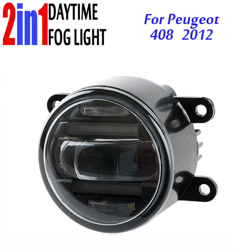 3.5 90mm Round LED Fog Light Daytime Running Lamp Assembly LED Chips Fog Lamp DRL Lightings Lens for Peugeot 408 2012