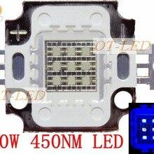 100 шт. 10 Вт 45mil Королевский синий 445nm квадратный высокомощный светодиодный светильник чип 1000mA 10-13 в