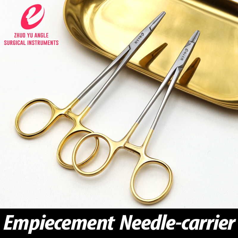 Golden handle needle holder insert binocular eyelid needle holder catgut embedding surgical tool empiecement carrier