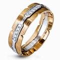 EDI Diseño Único 14 K 585 Anillo de Dos tonos de Oro Para Los Hombres Vinculados Bloqueo Moissanite anillo de Bodas de Compromiso Del Banco de Estirar anillo de La Joyería Fina