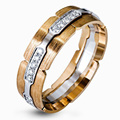 EDI Unique Design 14K 585 Two-tone Gold Ring For Men Linked Lock Moissanite Wedding Band Drawbench Engagement Ring Fine Jewelry