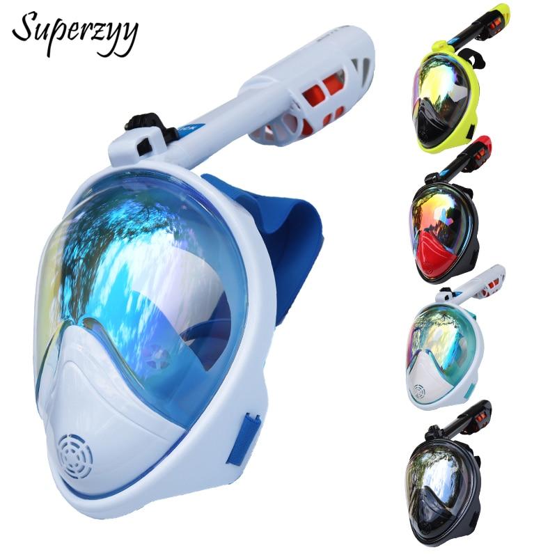 Underwater Anti Fog Diving Mask Snorkel Swimming Training Scuba mergulho 2 In 1 full face snorkeling mask Gopro Camera Dropship