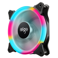 Aigo Aurora Colorful LED PC Cooling Fan 120mm Quiet High Airflow 4 Pin 3 Pin For