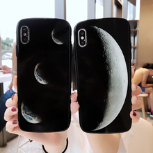 LISM Luxury Moon Eclipse Shield Oval Tempered Glass Phone Case Cover For iPhone 6 6S 7 8 Plus X XR XS Max Anti-knock Protector