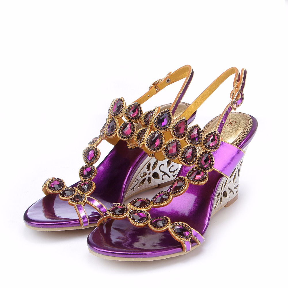 2017 Summer Fashion Grace Girl Bohemian Gemstone Crystal Sandals Flower Wedges High Heels Sandals Peep Toe Woman Wedding Shoes