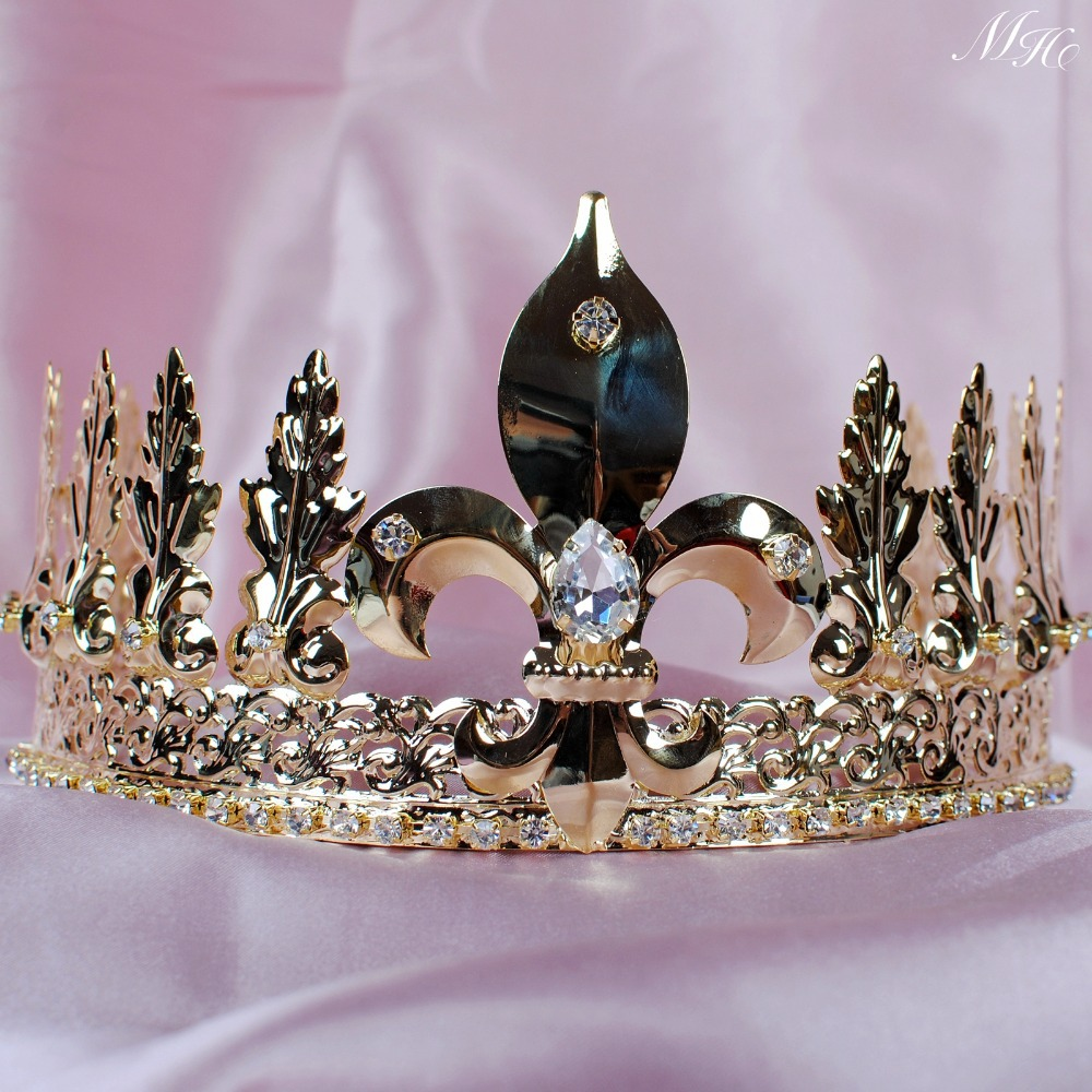 Men's King Emperor Tiara Gold Crown Imperial Medieval 4 ...