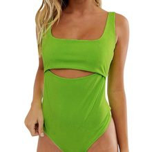 2019 Women's Sexy Bodysuit Jumpsuits Romper Overalls Fashion Openwork Vest Open Back Solid Shorts Jumpsuits Female Playsuits BB4(China)