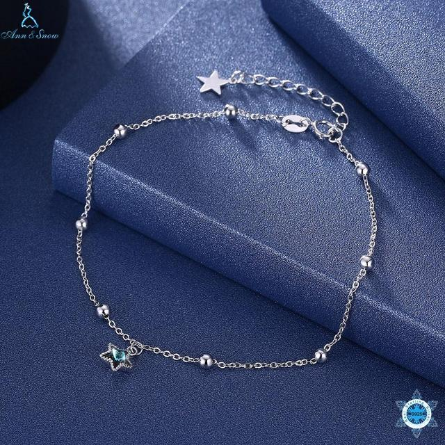 New Arrival Genuine 925 Sterling Silver Sweet Whisper of Star Cubic Zirconia Stone CZ Link Bracelet Ankle Luxury Silver Jewelry