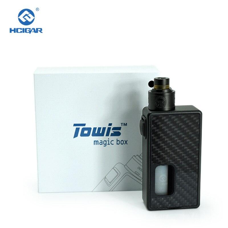 オリジナル HCIGAR Towis マジックボックス squonk 機械式キット気化器 18650 バッテリー電子タバコ炭素繊維メカキット  グループ上の 家電製品 からの 電子タバコキット の中 1