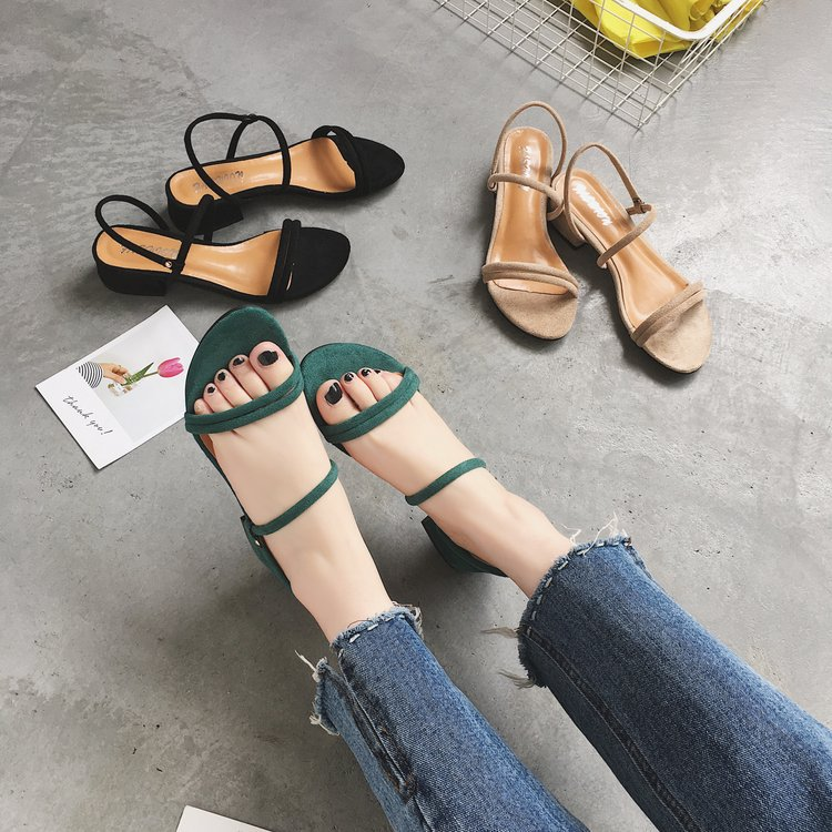 Summer Shoes Square Heels UNIQUE Sandals Buckle-Strap Peep-Toe Fashion Genuine GIRL High-Quality
