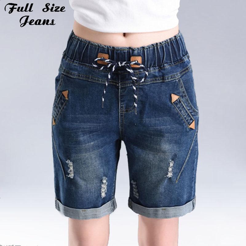 2017 Summer Loose Wide Leg Elastic Waist Short Jeans Oversized Straight Denim Shorts Pants 2Xl 3Xl 4Xl
