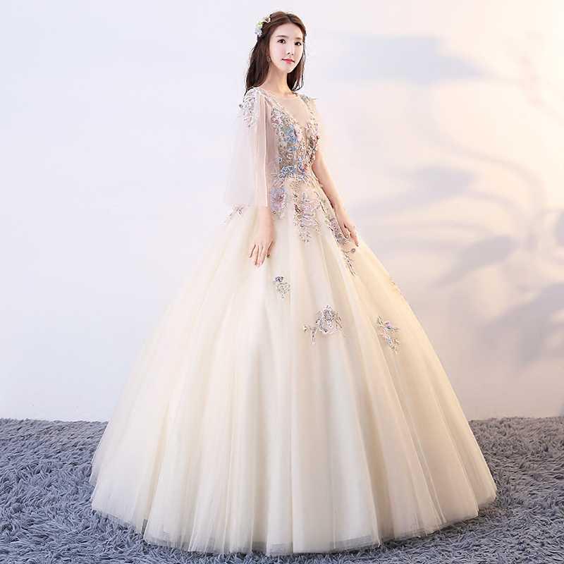 מקיר לקיר-אורך Quinceanera שמלות שמפניה ילדה Vestidos דה 15 Anos חרוזים נשף כדור שמלת Sweet Sixteen מותאם אישית שמלה