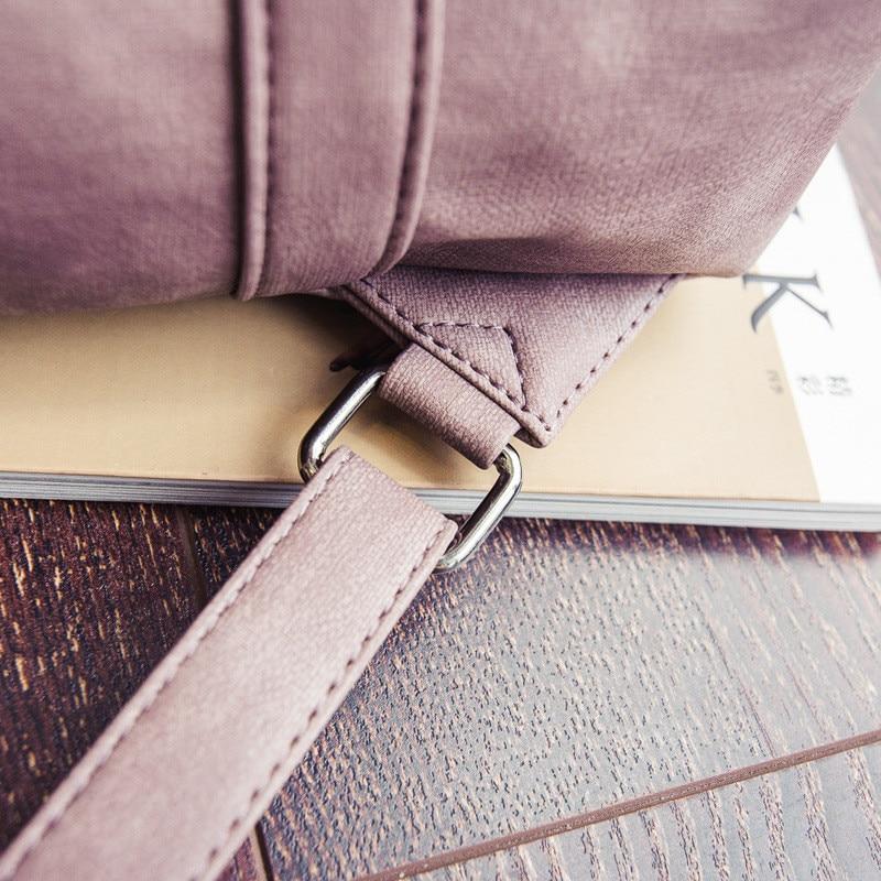 MJ Women Leather Backpack Female PU Leather Travel Bag Large Solid Color Travel Backpack Big School Bag for Teenage Girls (23)