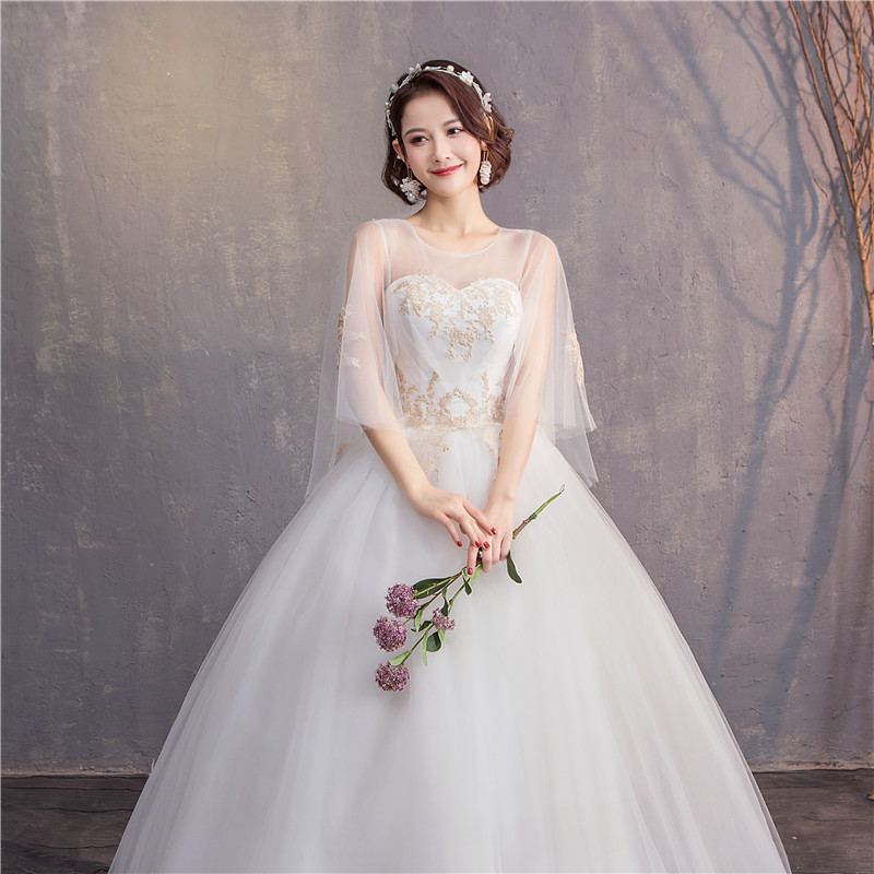 2019 lace White Ball Gowns Illusion Wedding Dresses for bride Dress gown Elegant Delicate Lace Pattern Wedding Dress0.85