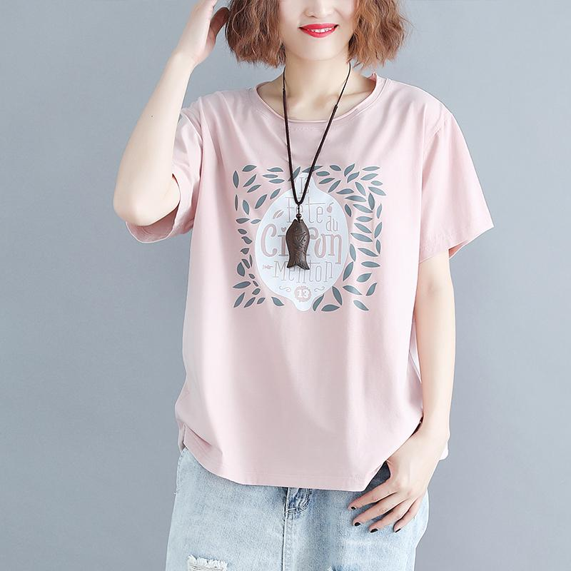 Women Tshirt Summer Basic Tops Tees Cotton Plus Size Pink T-shirt Print Letter Femme Large Clothing Loose Casual 2019