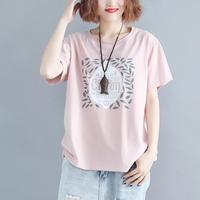 Women Tshirt Summer Basic Tops Tees Cotton Plus Size Pink T shirt Print Letter Femme Large Clothing Loose Casual 2019
