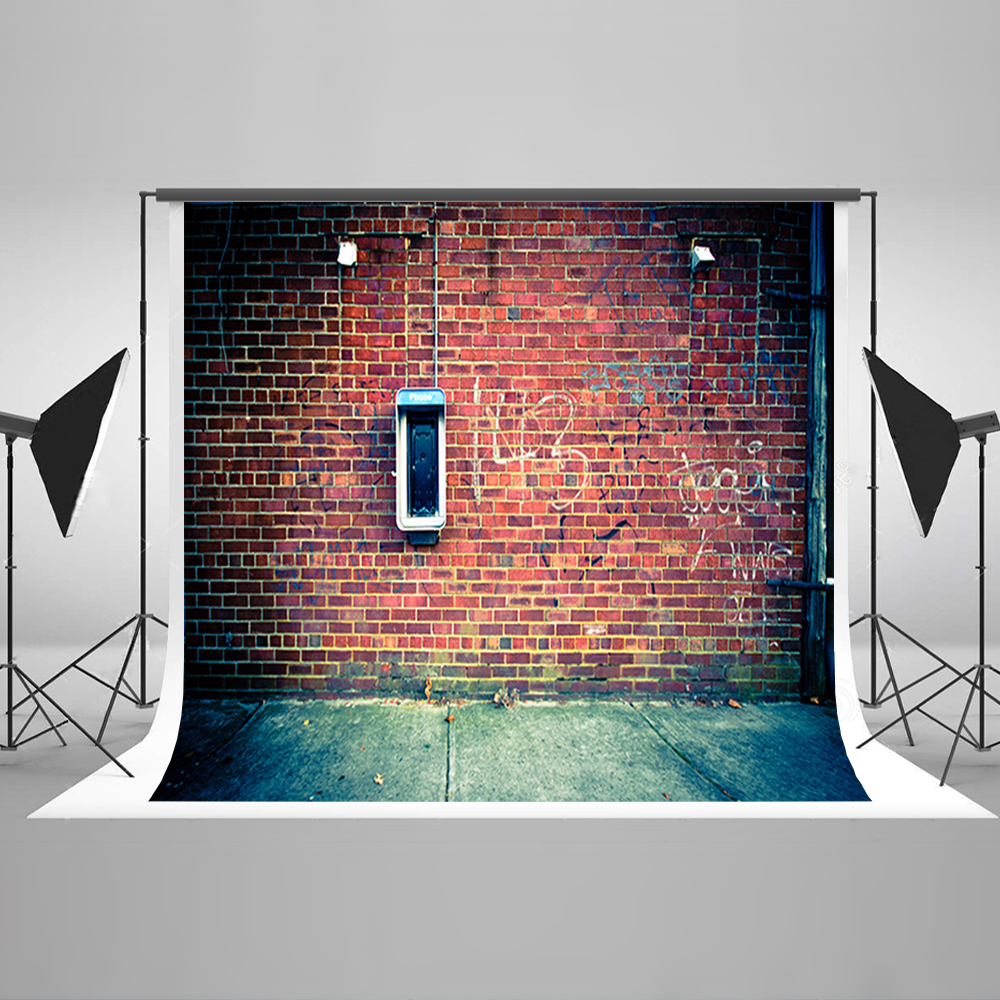 Mur de briques rétro avec cabine téléphonique arrière-plans de photographie 200*300 cm décors en vinyle pour Studio Photo de photographie personnaliser