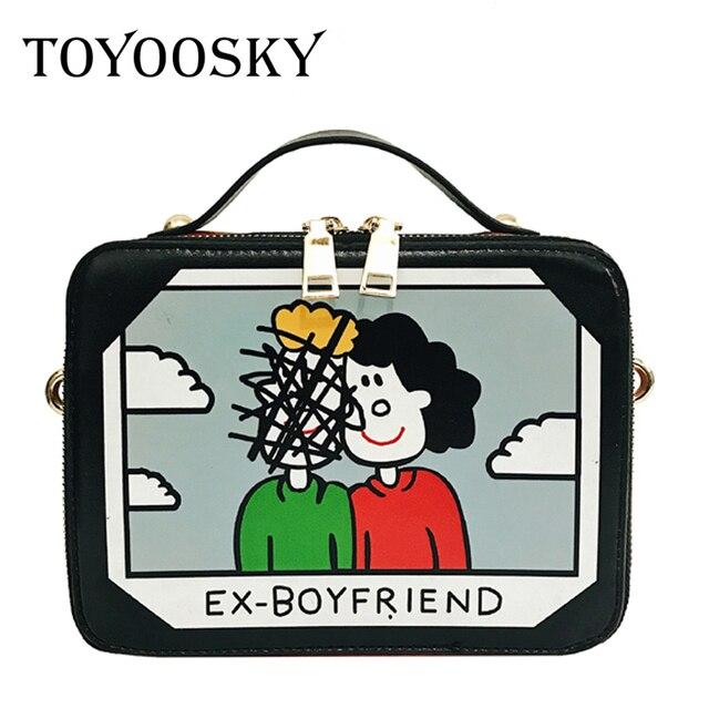 c5c91b12af4a TOYOOSKY 2017 Korean style cartoon printing small square bag summer new female  box bag trend women