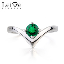 Leige Jewelry Emerald Ring Engagement Ring May Birthstone Round Cut Green Gems Solid 925 Sterling Silver Ring Gifts for Her