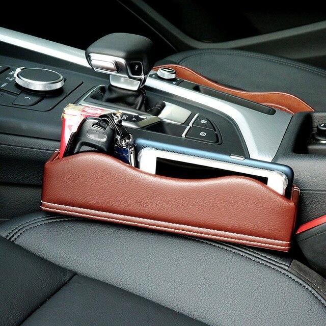 Leather Car Seat Crevice Storage Box Multi Purpose Auto Gap Organizers Carrying Pocket