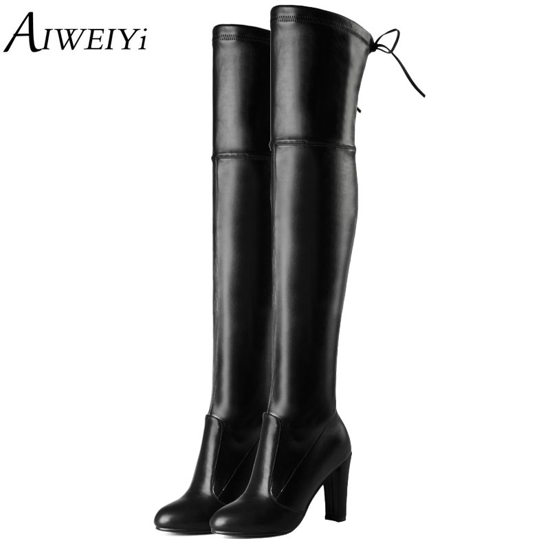 AIWEIYi High Heel Over The Knee Boots For Women Square High Heel Platform Thigh High Boots Spring Autumn Shoes Woman Size 34-43