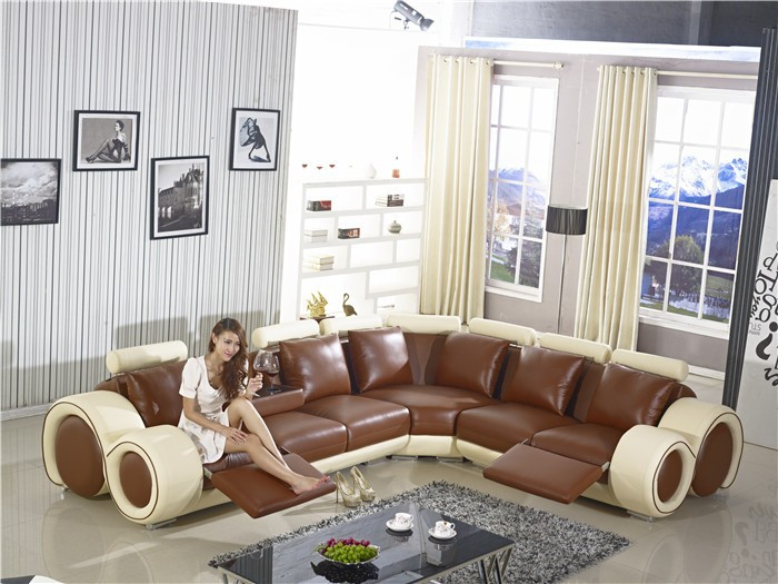New Design Large SIze L Shaped Recliner Sofa Made In Top Grain - Coffee table for l shaped sofa