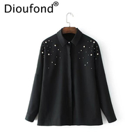 Dioufond Black Ladies Shirts Beading Pearls Turn Down Collar Women Blouses Long Sleeve Female Casual Office