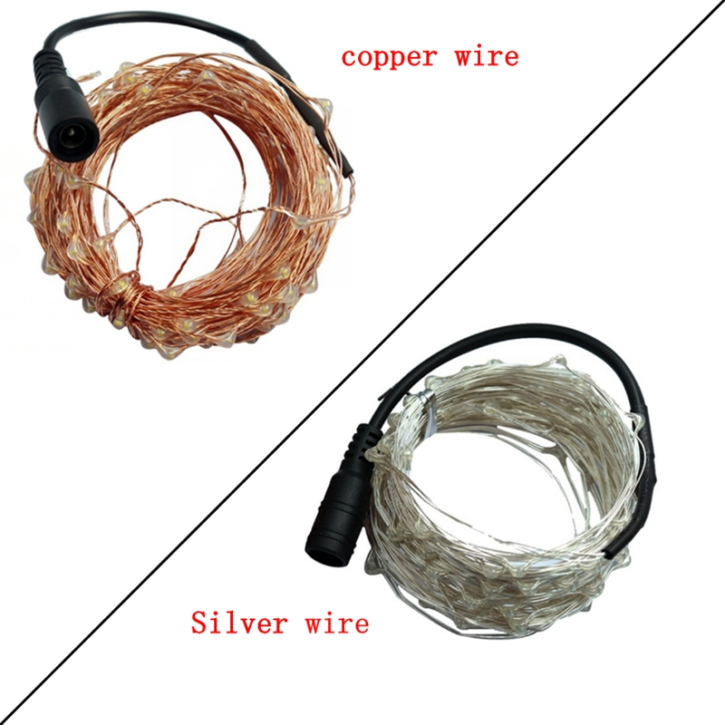 DC12V 10M 20M 30M 50M Led Fairy String Light Waterproof Silver Copper Wire Line Xmas Christmas Festival Wedding Decoration Light
