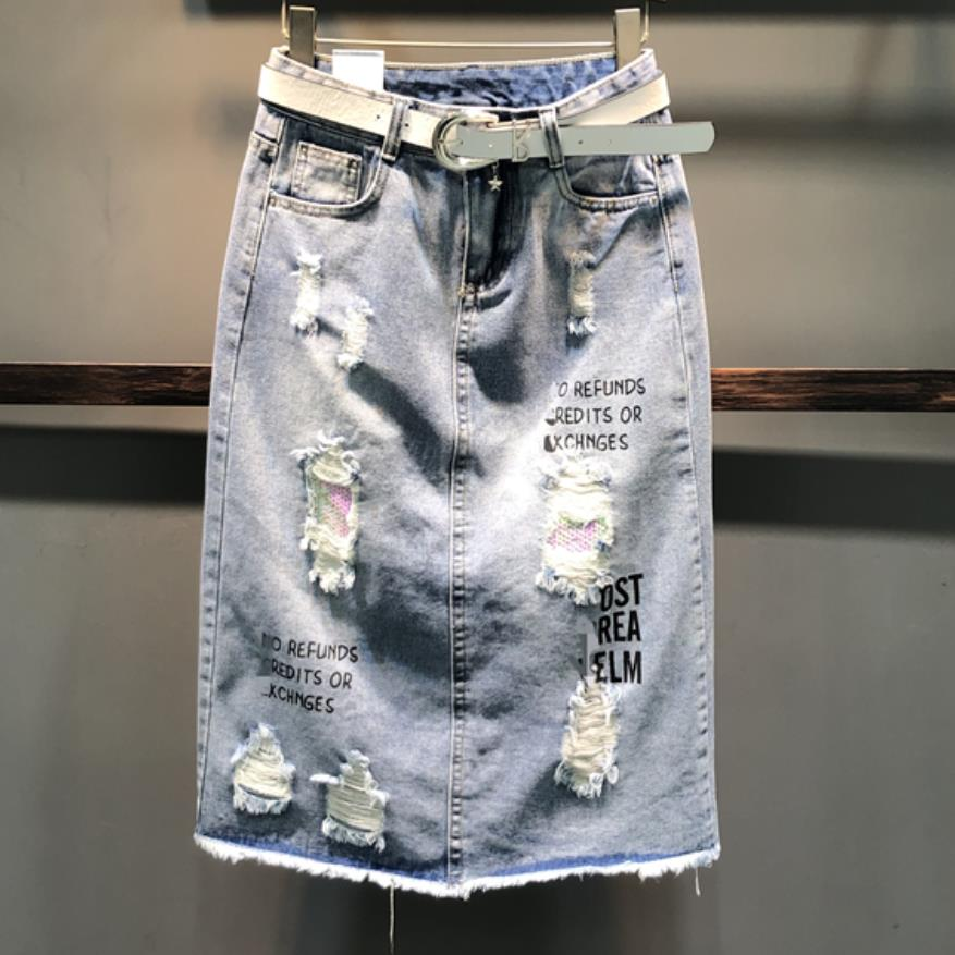 Letter Straight Skirt Denim New Print Package Hole Hip Women 2019 Spring Personality Blue Jeans txUZtq6