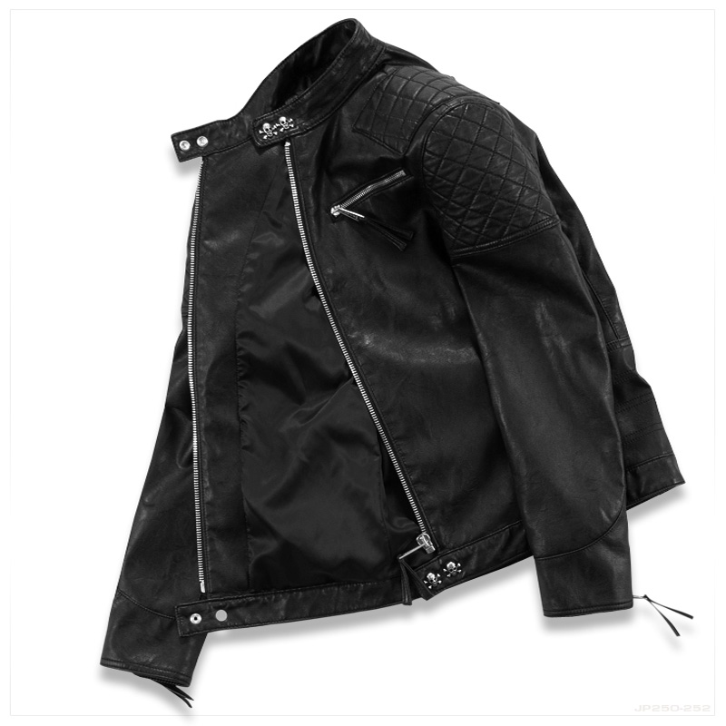 Hot ! High quality new Spring fashion leather jackets men, men's leather jacket brand motorcycle leather jackets skull M-5XL 4