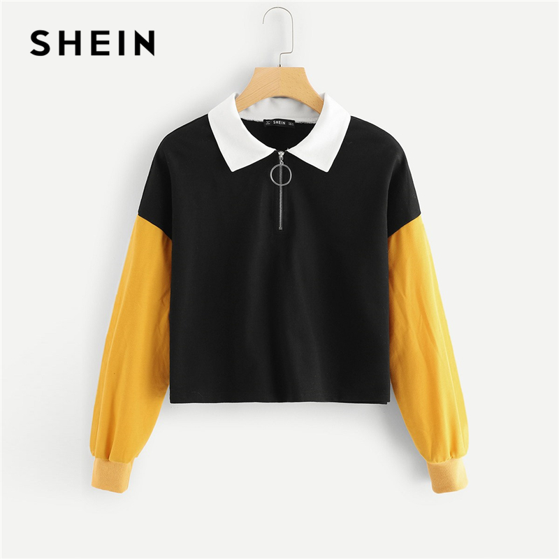 SHEIN Multicolor Casual Colorblock O-Ring Zip Half Placket Colorblock Sweatshirt Autumn Minimalist Fashion Women Sweatshirts