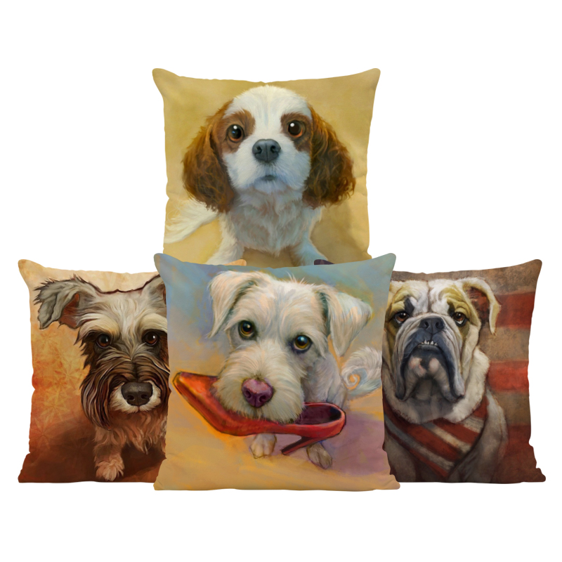 Animal High Heels Cushion Schnauzer Cavalier King Charles Spaniel Pillow Bookcase Decoration Throw Pillow Cushion 45Cm Polyester
