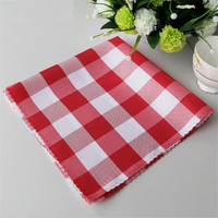 48x48cm POLYESTER NAPKINS RED & WHITE CHECKERED (1 DOZEN) FOR WEDDING PARTY BANQUET RESTAURANT DECORATION
