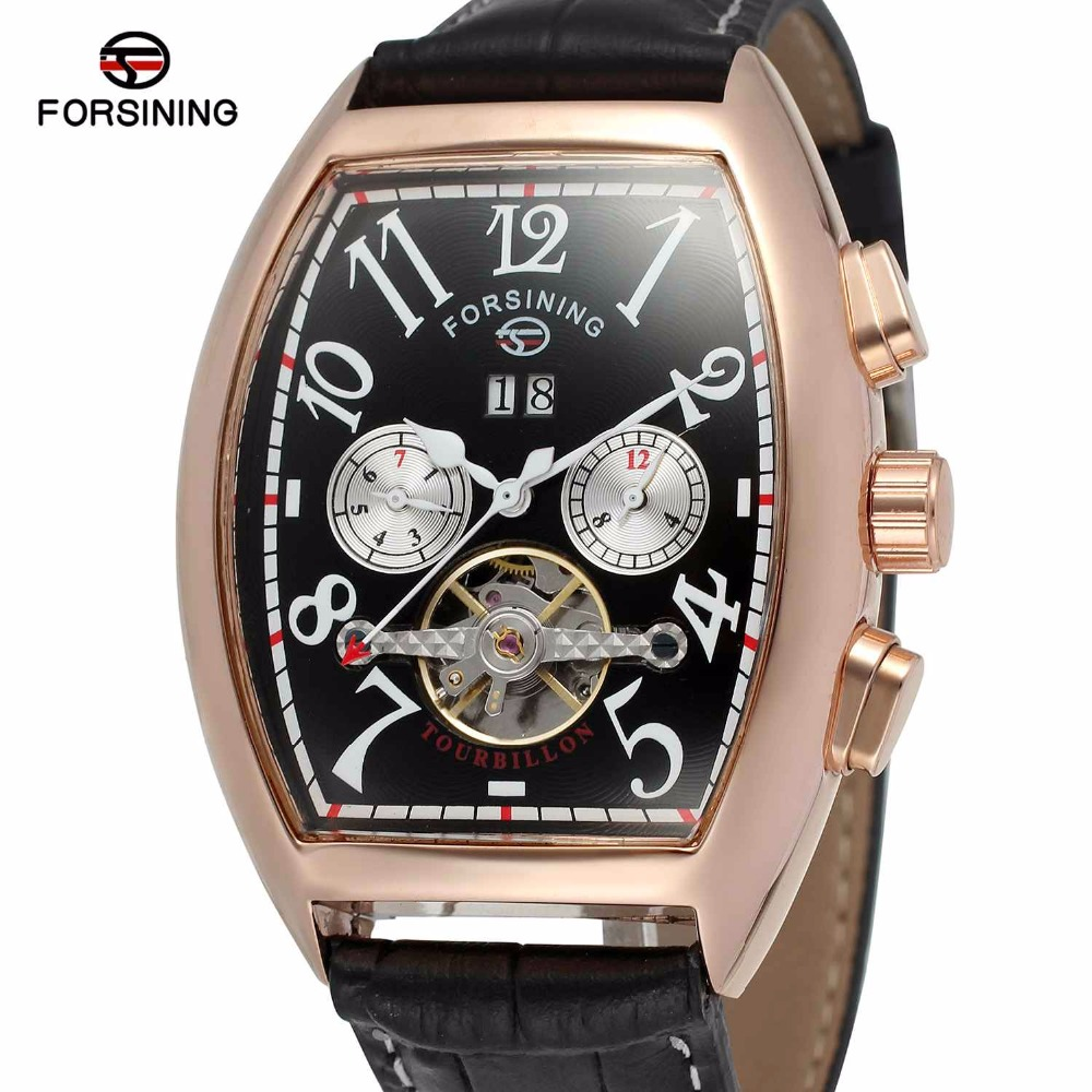 FORSINING Men Women Auto Mechanical Watch Tonneau Multifunction Tourbillon Wristwatch Leather Band Calendar Working Sub-dial original delta afb0912shf 9032 9cm 12v 0 90a dual ball bearing cooling fan