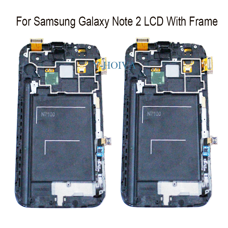 Y-HOIVA For Samsung Galaxy Note 2 N7100 N7105 100% New Super AMOLED LCD Touch Screen Digitizer Display With Frame Assembly image