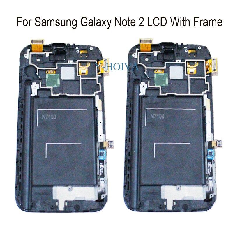 Y-HOIVA pour Samsung Galaxy Note 2 N7100 N7105 100% nouveau Super AMOLED LCD écran tactile numériseur affichage avec assemblage de cadre