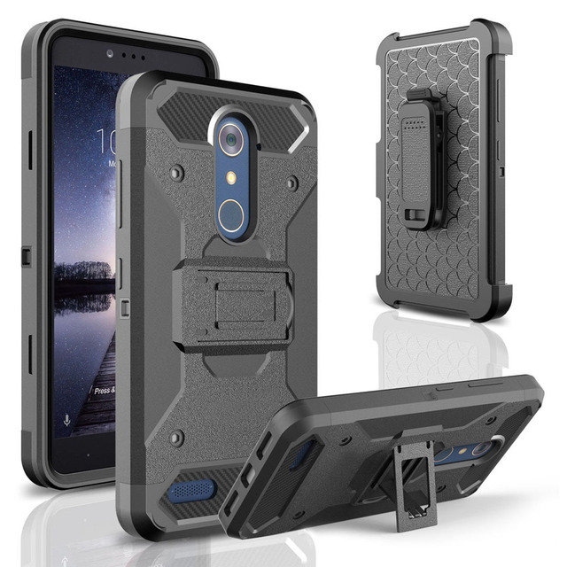 4in1 Heavy Duty Hybrid Armor Case Durable Shockproof Holster+Belt Clip Kickstand Hard Cover Case For ZTE Zmax Pro Z981 @