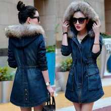 Winter Women Coat Parka Casual Outerwear Denim Jeans Hooded Coat Winter Jacket Women Fur Coats Woman Clothe Manteau Femme H7194