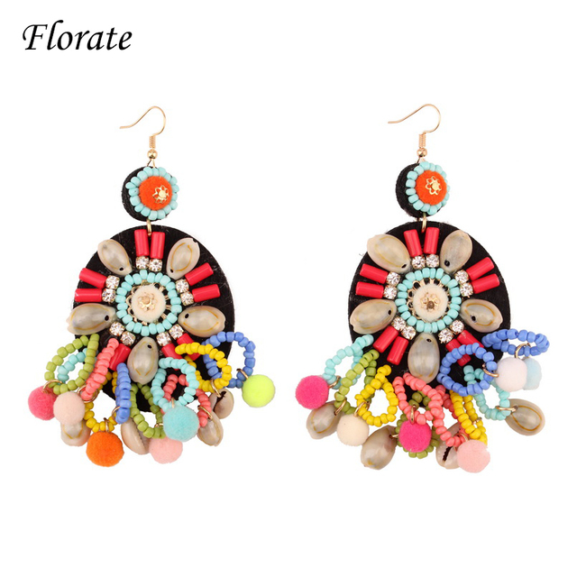 Florate Chunky Colorful Bead S Bohemian Earrings For Women Design Handmade Ethnic Drop Dangle Statement