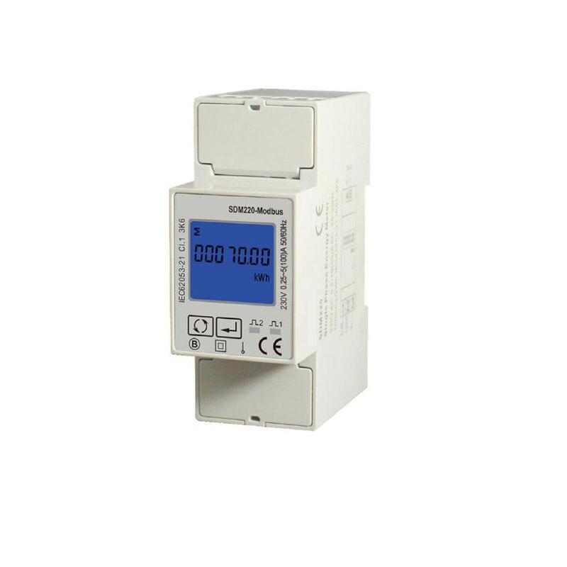 Monofase 230 V Din Metro Ferroviario, energia elettrica Kwh Meter, Multi-funzione di Misuratore di Energia con uscita RS485 Modbus SDM220 MODBUS