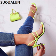 SUOJIALUN 2019 New Fashion Transparent Ankle Sandals High Heels Party Open Toe Shoes Sexy Fluorescent 11.5 CM Slip-On Sandals